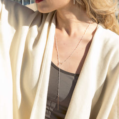 stem lariat - gold bar - Freshie & Zero | artisan handmade hammered jewelry | handmade in Nashville, TN