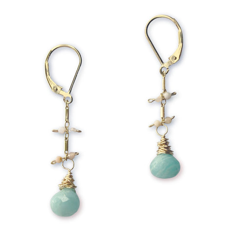 Lily Earrings - Gold & Amazonite