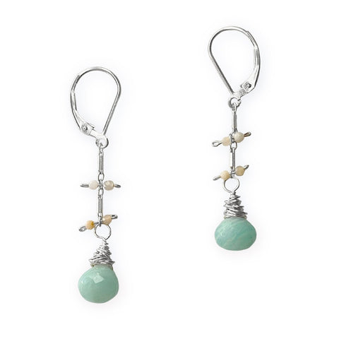 Lily Earrings - Silver & Amazonite