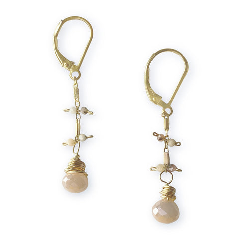 Lily Earrings - Gold & Peach Moonstone