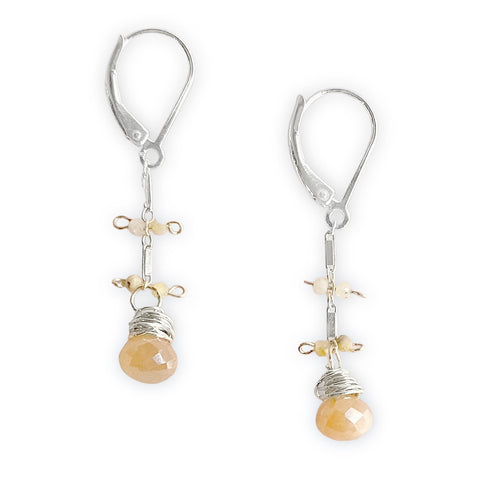 Lily Earrings - Silver & Peach Moonstone