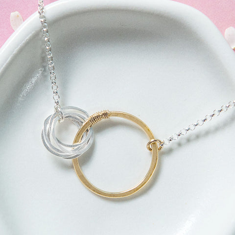 love necklace with five small circles