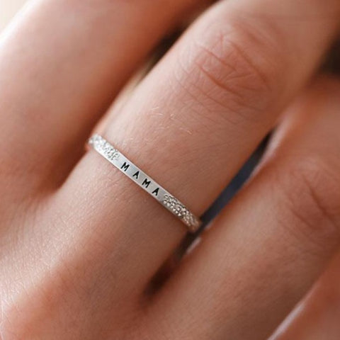 Mama: Diamond Dusted Message Ring