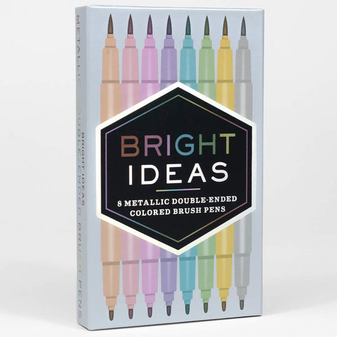 Bright Ideas - 8 Metallic Double Ended Colored Brush Pens