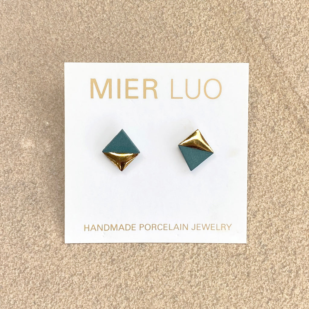 handmade gold dipped porcelain stud geometric teal earrings