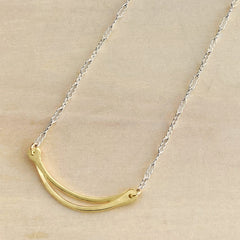 gold and silver curved bars necklace handmade mixed metal dainty jewelry