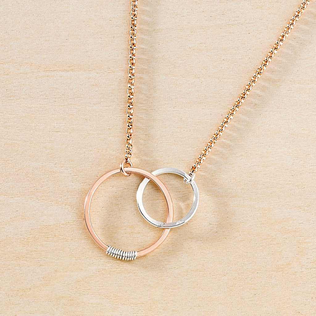 Minimal handmade circle necklace on rose gold filled chain