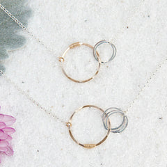 love necklace with four small circles - Freshie & Zero | artisan handmade hammered jewelry | handmade in Nashville, TN
