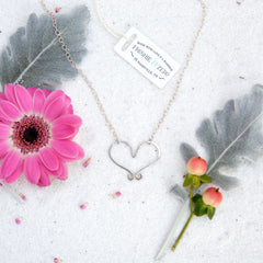 handmade cute open heart necklace