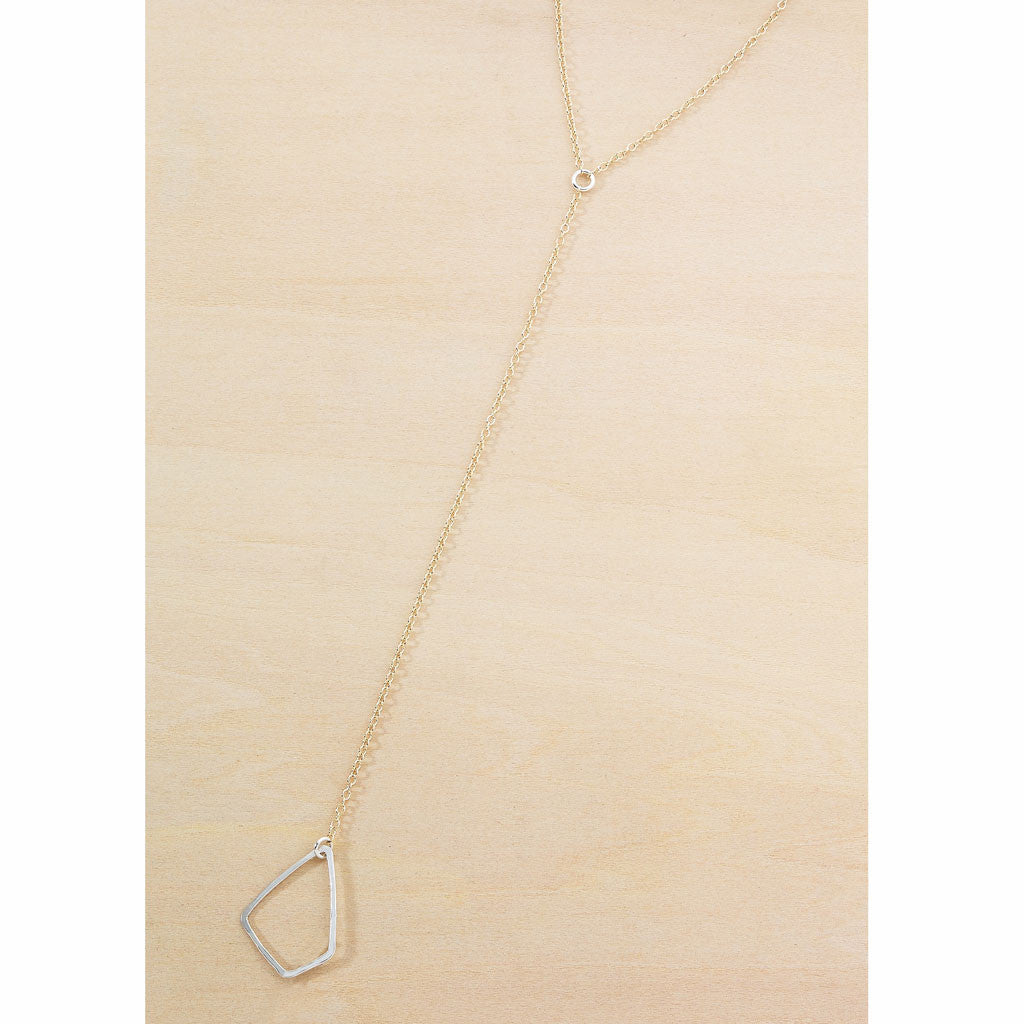 Geometric long Y necklace