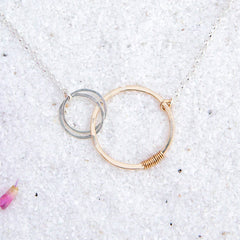 love necklace with two small circles - Freshie & Zero | artisan handmade hammered jewelry | handmade in Nashville, TN