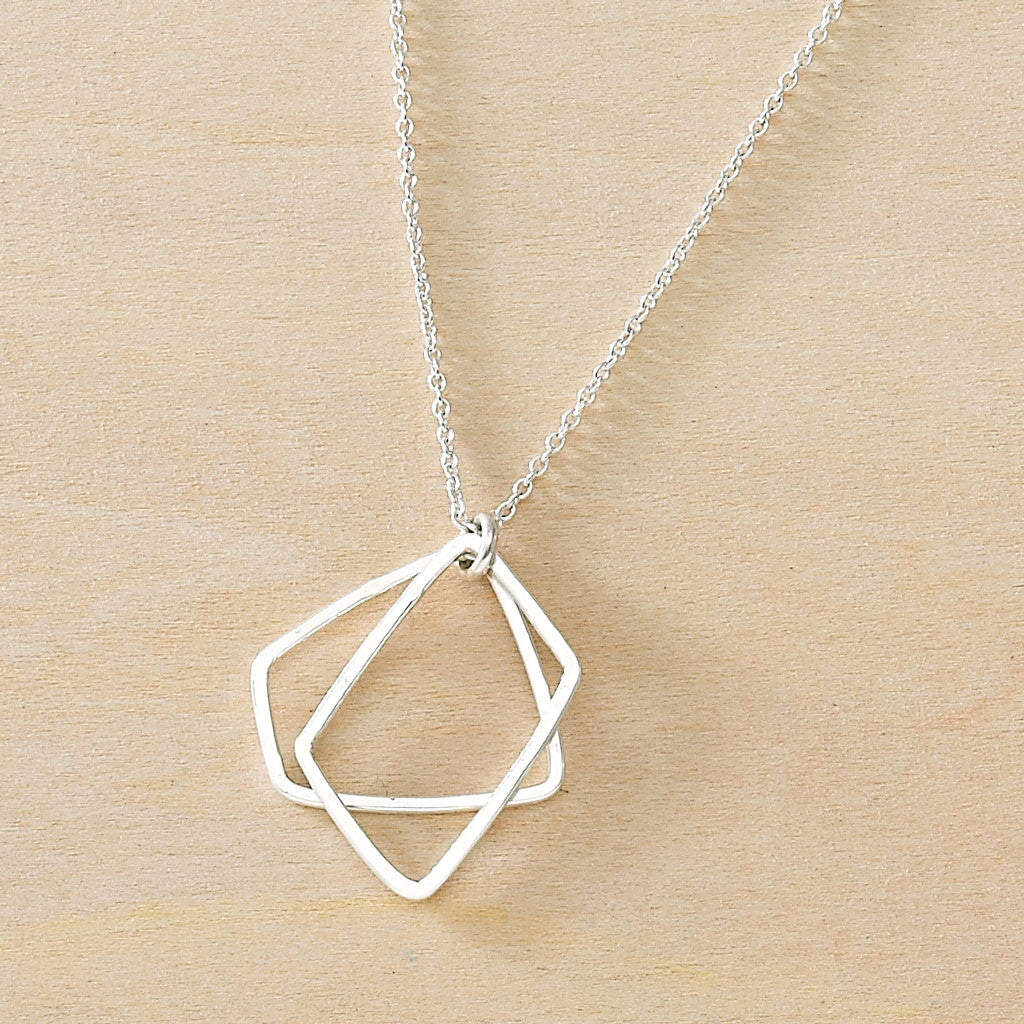 geometric minimalist handmade necklace - two hammered trapezoid rectangles