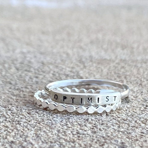 Optimist: Hand Stamped Message Stacking Ring