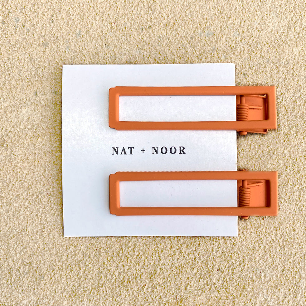 Lu Lu Hair Clips In Burnt Orange