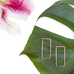 minimal rectangle hoops - Freshie & Zero | artisan handmade hammered jewelry | handmade in Nashville, TN