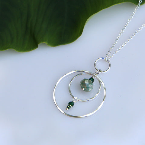 Silver Compass Necklace - Through the Trees