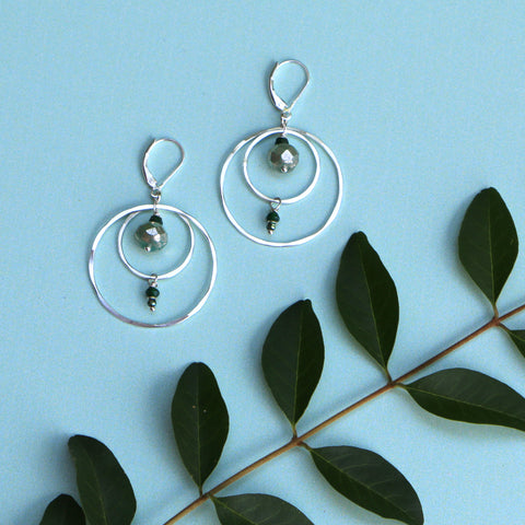Silver Compass Earrings - Through the Trees