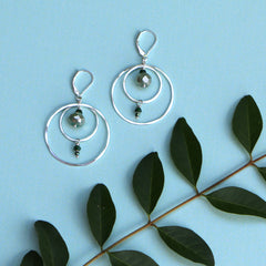 Silver Compass Earrings - Through the Trees - Freshie & Zero | artisan handmade hammered jewelry | handmade in Nashville, TN