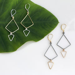 Golden Skylark Earrings - Freshie & Zero | artisan handmade hammered jewelry | handmade in Nashville, TN