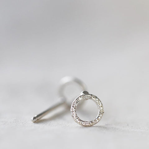 Stud Earrings - Diamond Dusted Open Circle by Christina Kober