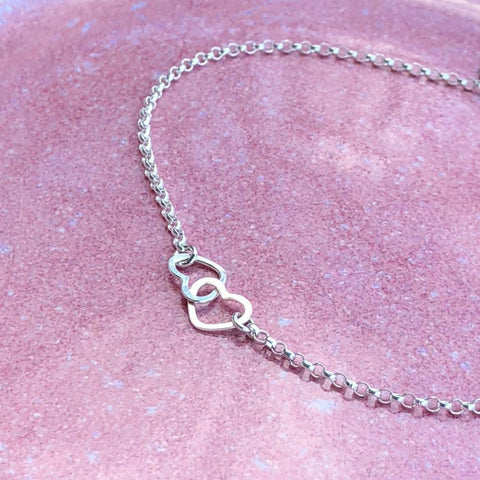two tiny hearts necklace