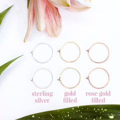 our semi precious metal options - sterlingn silver, gold filled, and rose gold filled