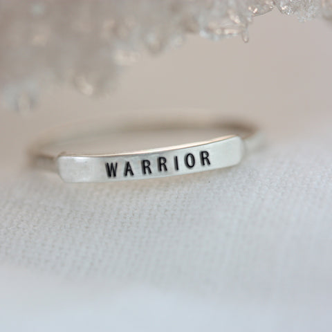 Warrior: Hand Stamped Message Stacking Ring