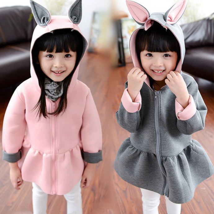 Kid Girls Cute Rabbit Ear Hoodies Coat Casual Long Sleeve Top Zipper Outwear