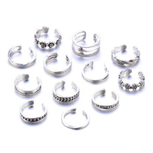 Load image into Gallery viewer, 12Pcs Retro Flower Twist Women Foot Toe Finger Open Band Rings Set Beach Jewelry
