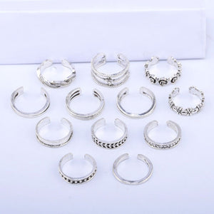 12Pcs Retro Flower Twist Women Foot Toe Finger Open Band Rings Set Beach Jewelry