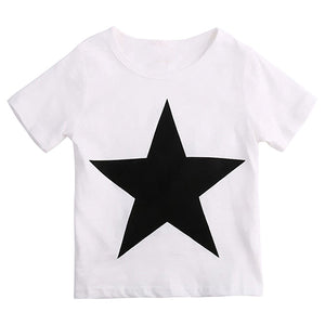 Toddler Kid Boys' Summer Star O-Neck T-Shirt + Faux Leather Harem Pants Outfit