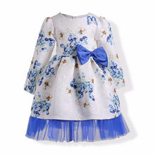 Load image into Gallery viewer, 1784 Cotton For Age 3-10 year Old Girls Cotton Flowers Print A-line O-neck Long Sleeve Dress Baby Girl Princess Dresses