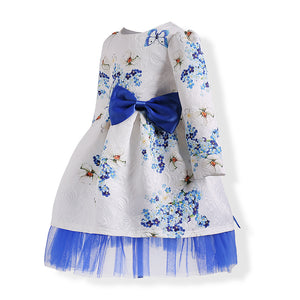 1784 Cotton For Age 3-10 year Old Girls Cotton Flowers Print A-line O-neck Long Sleeve Dress Baby Girl Princess Dresses