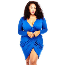 Load image into Gallery viewer, Women's Solid Plus Size Deep V-Neck Dress Women Split Elastic Bodycon Dresses