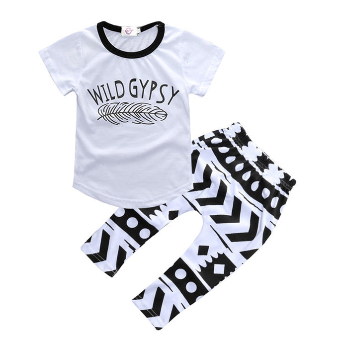 Kids Set Boy Alphabet White Jacket + Black and White Pants Casual Comfort Stylish Short Sleeve Set