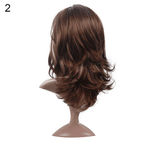Charming Flaxen/Brown Color Curly Long Wig Women Cosplay Party Hairpiece Gift