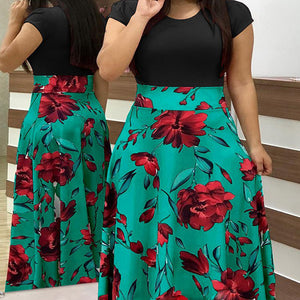 European and American style flower print color matching dress women's clothing