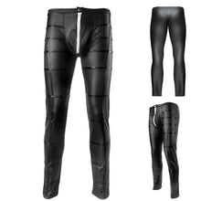 Load image into Gallery viewer, Night Club Sexy Men's Striped Faux Leather Zipper Skinny Long Pants Trousers