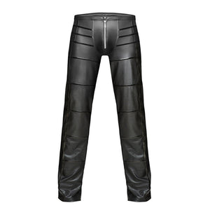 Night Club Sexy Men's Striped Faux Leather Zipper Skinny Long Pants Trousers