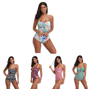 Sexy One-Piece Backless Striped Floral Print Summer Women Padded Swimsuit Gift