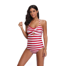 Load image into Gallery viewer, Sexy One-Piece Backless Striped Floral Print Summer Women Padded Swimsuit Gift