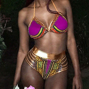 Colorful Women Summer African Print Bikini Set Swimwear Halter Padded Swimsuit