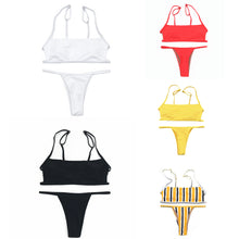 Load image into Gallery viewer, Two-piece Women Solid Color Striped Bikini Set Summer Beach Swimsuit Swimwear