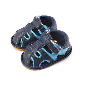 Navy Blue And Sky Blue Hollow Hook  Loop Rubber Sole Prewalkers Baby Sandals