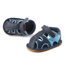 Load image into Gallery viewer, Navy Blue And Sky Blue Hollow Hook  Loop Rubber Sole Prewalkers Baby Sandals