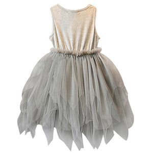 Girls Fashion Summer Clothes Kids Gray Sleeveless Mesh Tulle Skirt Party Tutu Dress