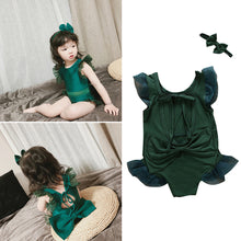 Load image into Gallery viewer, Girl Fashion Headband Flare Sleeve Monokini Summer Back Bandage Bowknot Swimwear