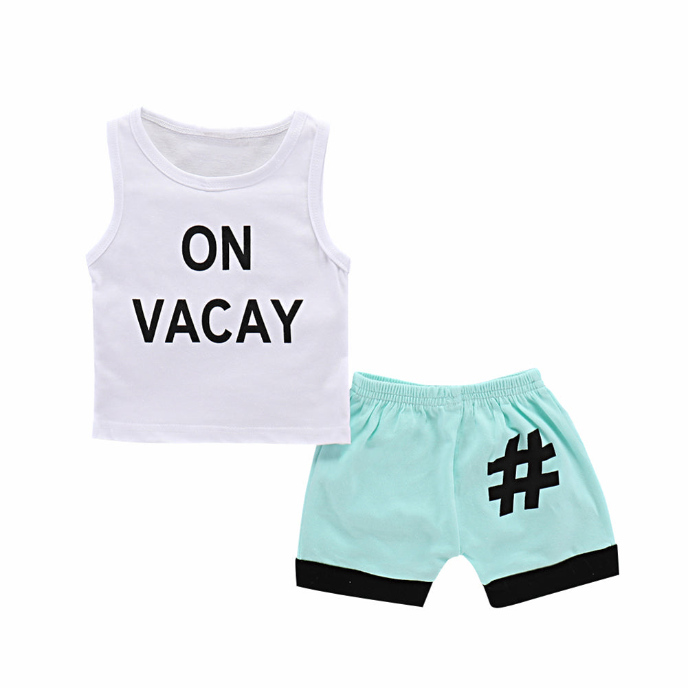 Summer Baby Boy Toddler Letter Print Two Pieces Tank Top and Shorts Clothes Set