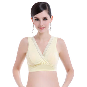 Women's Breastfeeding Nursing Cross Lace Wire Free Unpadded Cotton Sleep Bra