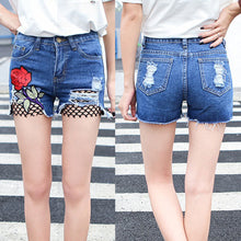 Load image into Gallery viewer, Summer Rose Flower Embroidery Women Denim Shorts Sexy Fish Net Hole Hot Pants